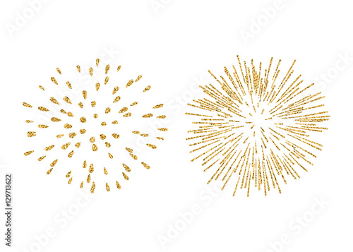 Fireworks set gold isolated. Beautiful golden fireworks on ...