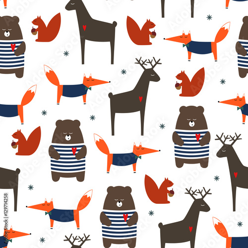Cotton fabric Cute forest animals seamless pattern. Deer, fox, bear, squirrel and snowflakes cartoon baby background. Colorful design for fabric, textile, decor. Vector illustration for winter holidays.