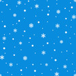Snowflake simple seamless pattern. White snow on blue background. Abstract wallpaper, wrapping decoration. Symbol of winter, Merry Christmas holiday, Happy New Year celebration Vector illustration