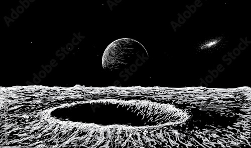 Photo view on surface of the Moon
