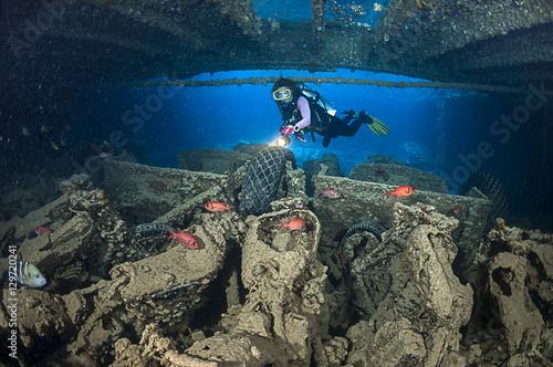 Motorcycles at cargo of Thistlegorm shipwreck near Ras Muhammed, Red Sea, Egypt.