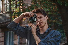 Hipster Boy Photographer With ...