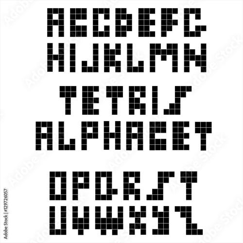 Poster Pixel Pixel retro font. Constructive black alphabet