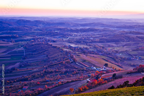 Evening view of villages and landscape