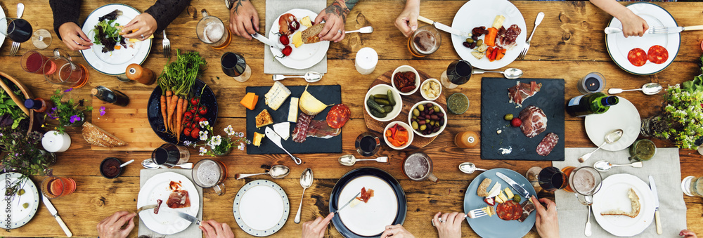 Fototapety, obrazy: Group Of People Dining Concept