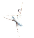 Ballerina dancing watercolor painting illustration greeting card isolated on white background - 129736452