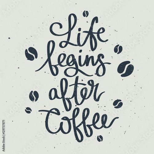 Fototapeta wzór z napisem o kawie na białym tle
