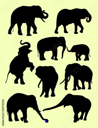 bb9a96ddb66c3 Cute elephants animal silhouette in different poses. Good use for symbol