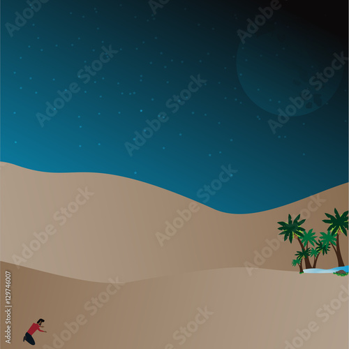 Poster Turquoise Lost in desert