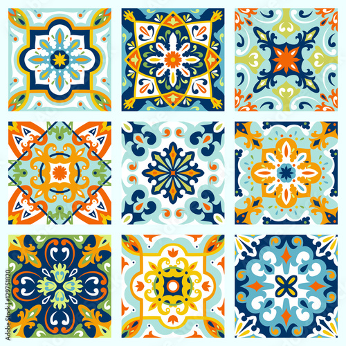 Tuinposter Marokkaanse Tegels Set with Beautiful seamless ornamental tile background.