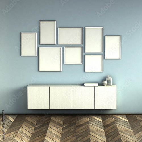 Mock Up Poster Frames On Blue Wall Interior Background. Picture Frame  Composition Concept. 3D
