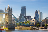Fototapeta Londyn - Financial District of London and the Tower Bridge