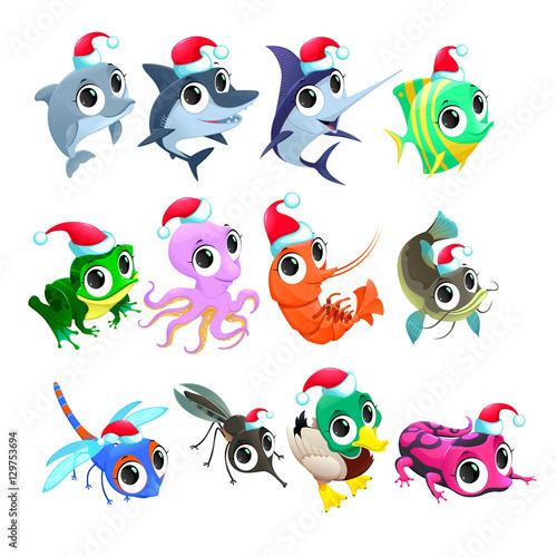 Door stickers kids room Funny Christmas animals