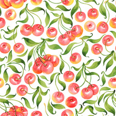 Panel SzklanySeamless pattern with watercolor cherries on white background