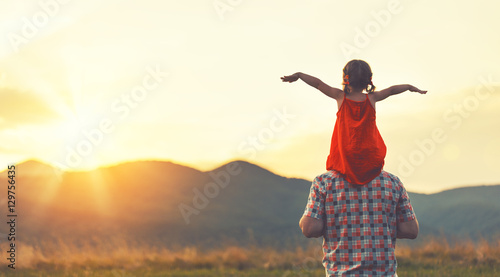concept of family. father and child daughter outdoors Wallpaper Mural