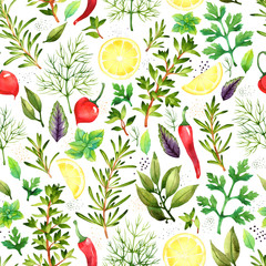 Panel Szklany Podświetlane Warzywa Seamless pattern with watercolor vegetables on white background