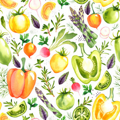 Fototapeta Warzywa Seamless pattern with watercolor vegetables on white background