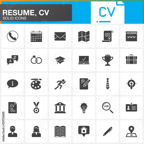 Vector Icons Set For Resume Or Cv Modern Solid Symbol Collection