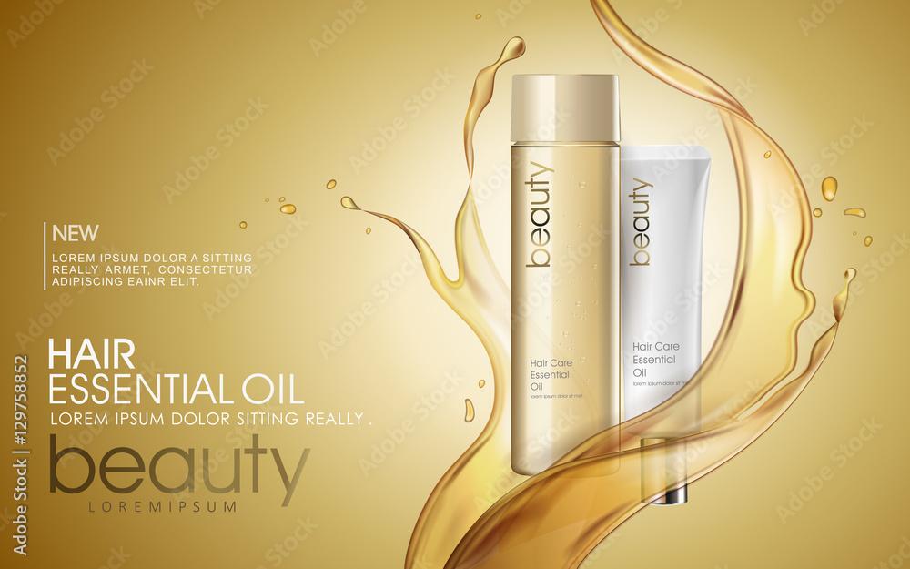 Fototapety, obrazy: Golden hair oil ads