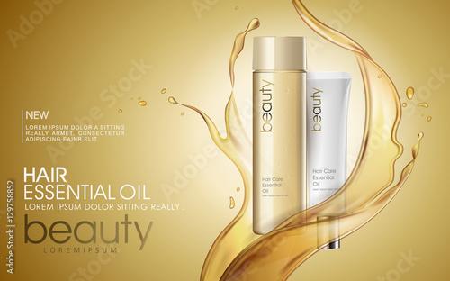Fototapeta Golden hair oil ads obraz