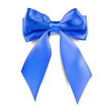 Decorative 3D Blue Bow On White Background