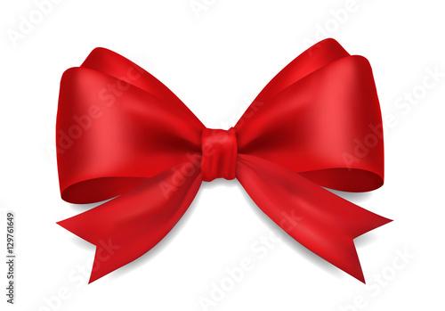 Fotografia  Decorative 3D red bow on white background