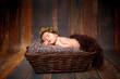 beautiful newborn sleeping baby girl in a wicker basket on a wooden background
