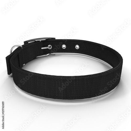New black dog collar isolated on the white. 3D illustration Fototapete