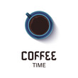 Coffee time lettering phrase. Realistic cup of black coffee isolated on white background. Espresso top view. Design template for banners, cards, menus, packaging and posters. Vector illustration.