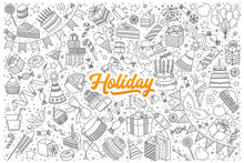 Hand Drawn Set Of Holiday Doodles With Orange Lettering In Vector