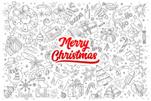 Hand Drawn Set Of Merry Christmas Doodles With Red Lettering In Vector
