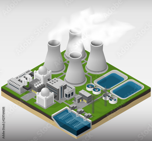 Vector isometric illustration of a nuclear power plant.