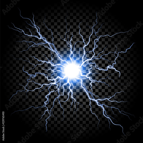 Fotografía  Lightning flash light thunder on transparent background