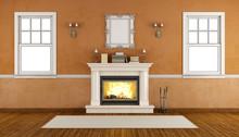 Empty Retro Room With Fireplace