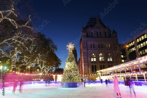 Night View of Natural History Museum, Winter Ice Rink #129767032