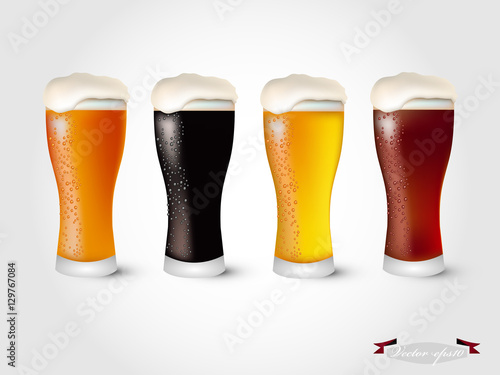 Photo  realistic graphic design vector of glass of beer topping with beer foam