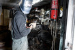 Welder in a garage