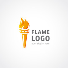 Olympic Flaming Torch Logo. Sport Fire Sign. Competitions, Union, Club Or Confederacy Icon.