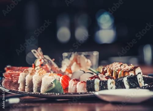 Foto op Aluminium Sushi bar Japanese seafood sushi on plate in restaurant