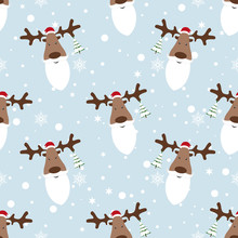 Christmas Pattern. Deer With Santa Beard On Blue Background. Snowflakes Around Deer