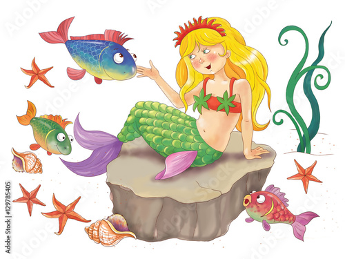 Fairy tale. The mermaid. Coloring page. Illustration for children