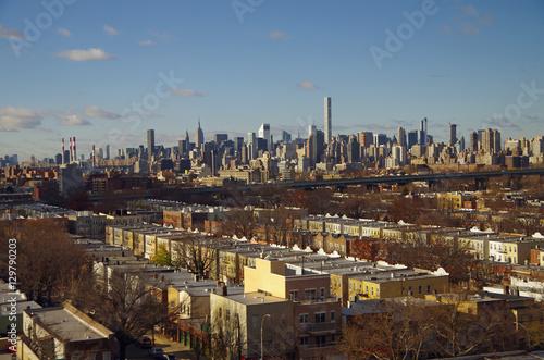 View of New York City Manhattan skyline overlooking Astoria Queens NYC Canvas Print