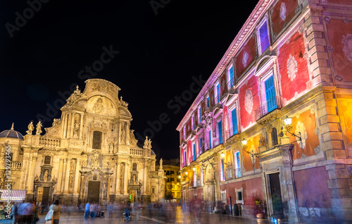 Santa Maria Cathedral and Episcopal Palace on Belluga Square in Murcia, Spain