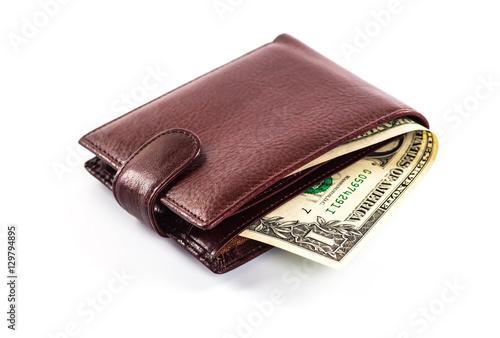 Fotografía  men's wallet money in cash white background