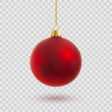 Red Christmas Ball Vector Illu...