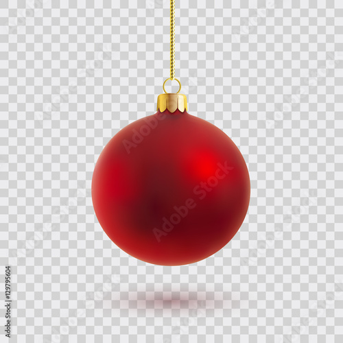 Tuinposter Bol red christmas ball vector illustration