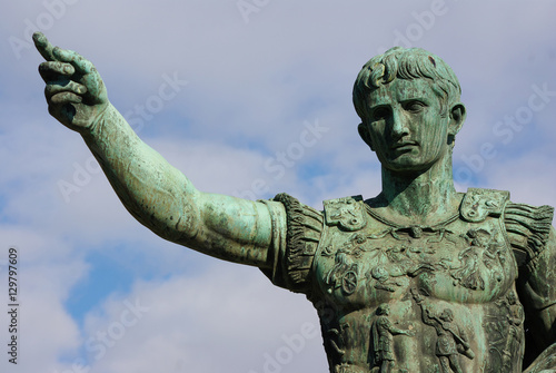 Leinwand Poster Bronze statue of Roman emperor Octavian Augustus, Rome