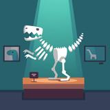 Fototapeta Dinusie - Tyrannosaurus dinosaur skeleton at museum room