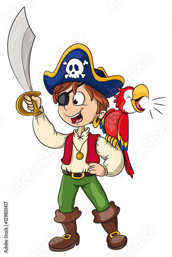 Zdjęcie XXL Wektorowa ilustracja odważny pirat
