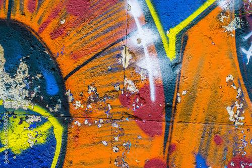Foto op Aluminium Graffiti Fragment of a wall with graffiti. Abstract background